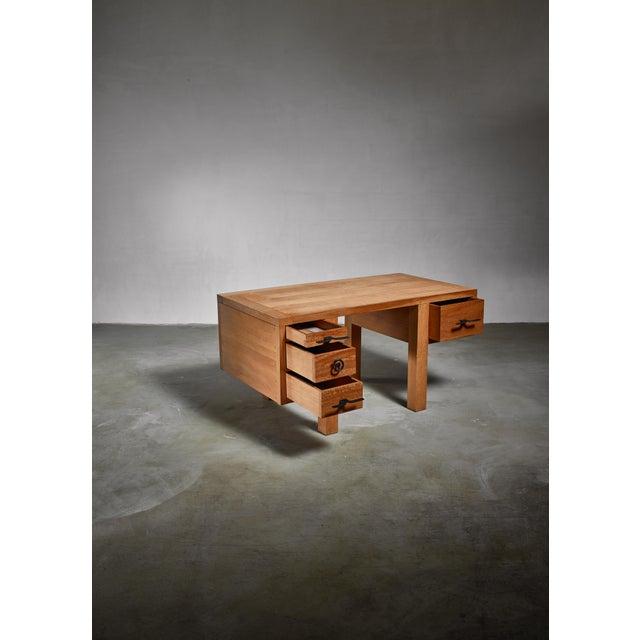 Mid-Century Modern Jean Touret Oak Desk for Marolles, France, 1950s For Sale - Image 3 of 5