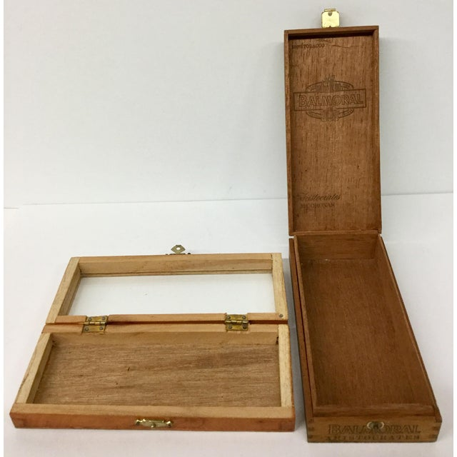 Wood 1960 English Traditional Cigar Boxes With Delftware Tile & Glass -a Pair For Sale - Image 7 of 13