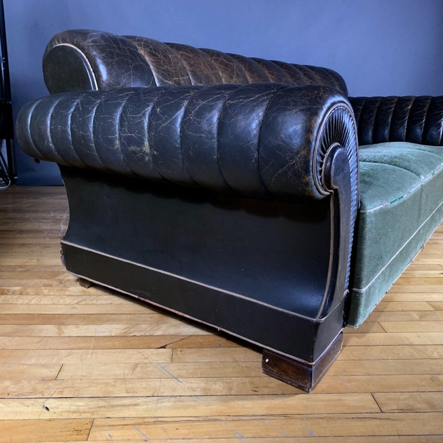 Danish 1930s Art Deco Green Leather Channeled Sofa For Sale - Image 10 of 11