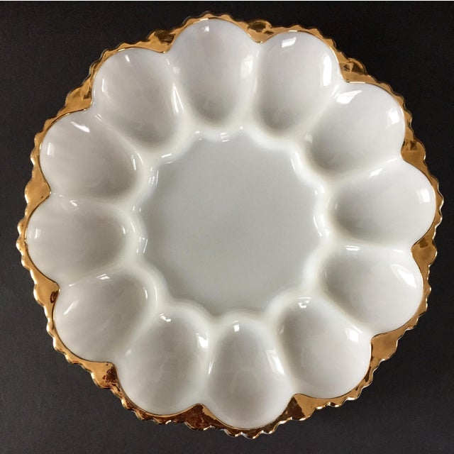 Vintage Milk Glass Deviled Egg Plate For Sale - Image 6 of 6