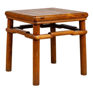 Chinese Antique Ming Style Natural Wood Side Table with Humpback Stretcher For Sale