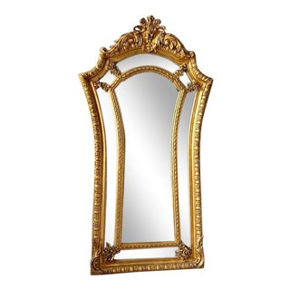 French Louis XVI Style Gold Leaf Mirror For Sale
