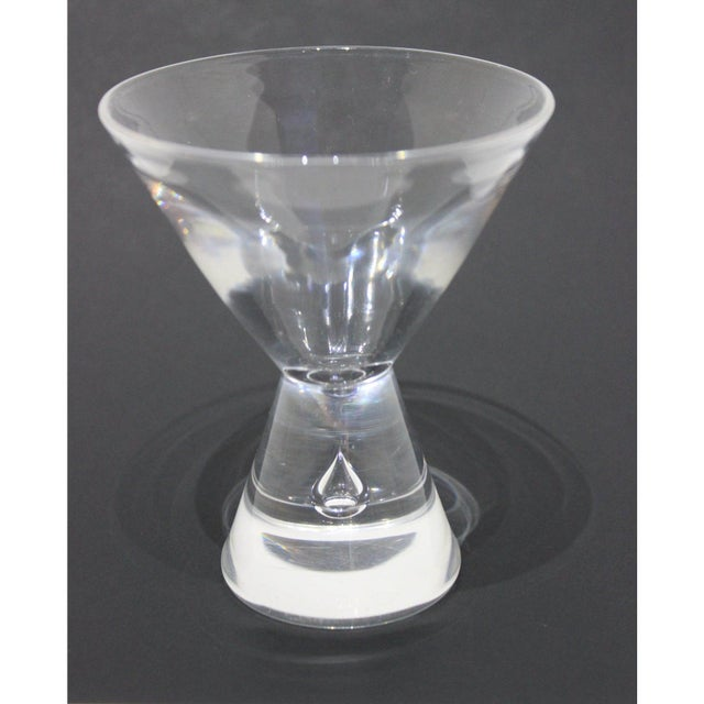 Mid 20th Century Mid-Century Modern Steuben Martini Glasses Hand-Blown Tear-Shaped Bubble Signed - a Set of 4 For Sale - Image 5 of 11
