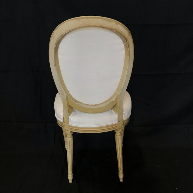 Louis XVI Dining Chairs With Original Paint & Linen Uphostery -Set of 6 For Sale - Image 11 of 13