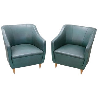 20th Century Italian Design Green Leather Pair of Armchairs, 1960s For Sale