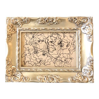 Original Vintage Wayne Cunningham Small Abstract Ink Drawing Ornate Tabletop Frame For Sale