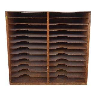 Vintage Letterpress Wood Printer Shelves Wall Unit