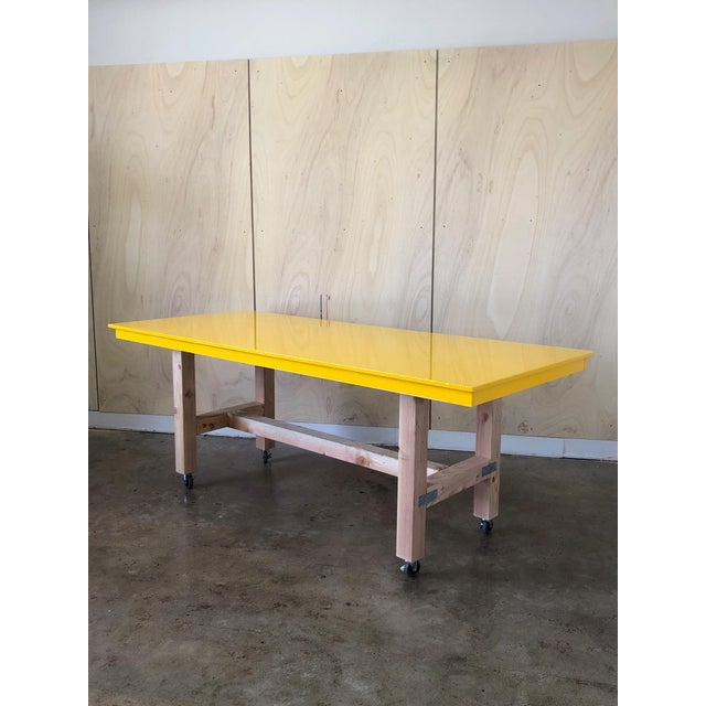 Excellent Industrial Yellow Epoxy Work Table On Casters Wheels Interior Design Ideas Tzicisoteloinfo