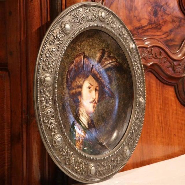 German Pewter Framed Porcelain Platter For Sale In Dallas - Image 6 of 9