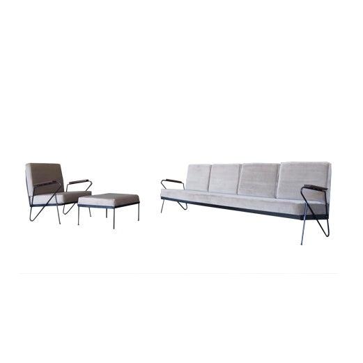 Modern Gray Velvet Sofa, Lounge & Ottoman - Set of 3 - Image 7 of 7
