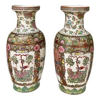 Pair Antique Rose Medallion Porcelain Vases For Sale