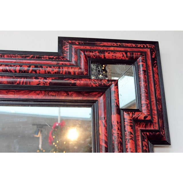 Large Scale Pair of Exceptional Dutch Baroque-Style Red Tortoise Mirrors For Sale - Image 12 of 13