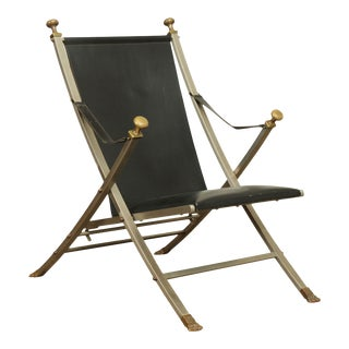 Maison Jansen Black Leather Brushed Steel and Brass Folding Campaign Chair For Sale