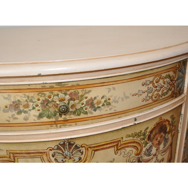 French Painted Demilune Cabinet C. 1940 For Sale In San Francisco - Image 6 of 7