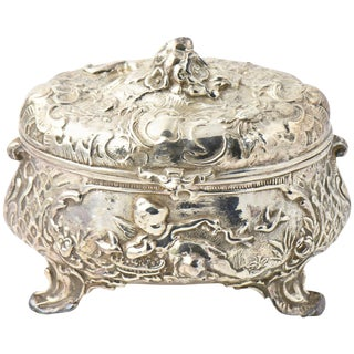 19th Century Victorian Silver Plate Cherub Angel Floral Box For Sale