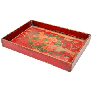 Chinese Antique Red Hand Painted Wood Tray For Sale