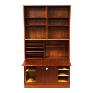 1970s Danish Modern Hundevad Teak Wall Unit Desk & Bookcase For Sale