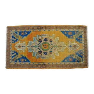 Distressed Low Pile Turkish Yastik Petite Rug Faded Mat - 23'' X 42'' For Sale