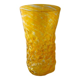 Mid-Century Artist Signed Yellow Studio Glass Vase For Sale