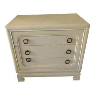 1970s Mid-Century Modern John Widdicomb Vintage Off White 3 Drawer Nightstand For Sale