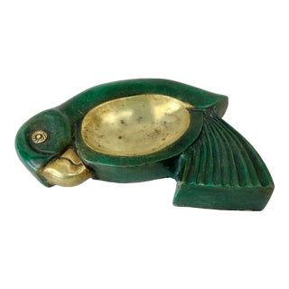 Vintage Brass and Faux Painted Stone Parrot Ashtray For Sale