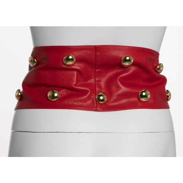 1980s Yves Saint Laurent Red Leather Gold Stud Sash Belt For Sale In Miami - Image 6 of 9