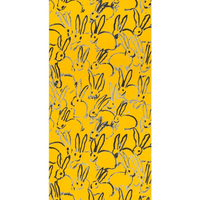 Hunt Slonem for Lee Jofa, Hutch Wallpaper Roll, Yellow, 10 Yards For Sale