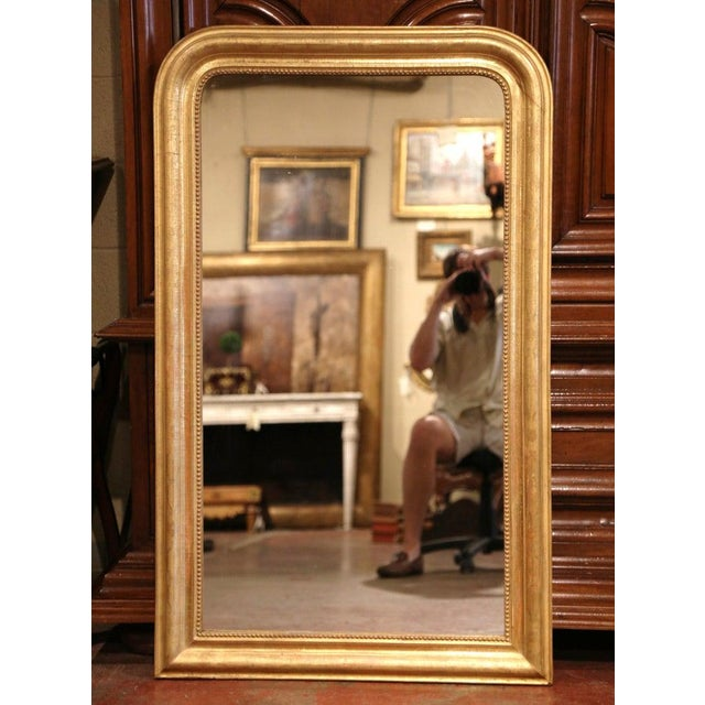 Gold 19th Century French Louis Philippe Gilt Wood Mirror With Engraved Floral Decor For Sale - Image 8 of 8