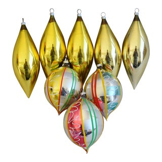 Large Vintage Colorful Christmas Tree Ornaments - Set of 8 For Sale