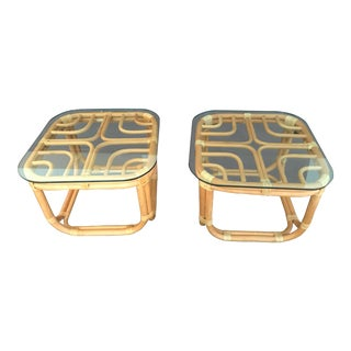 Mid Century Brown Jordan Bentwood Vintage Rattan Side Tables With Clear Glass Tops - a Pair For Sale