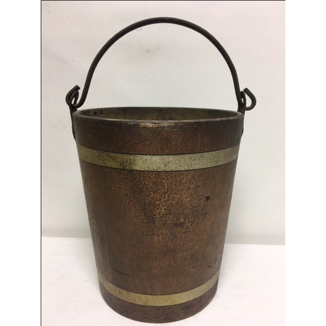 """Very rare 1880's fiber bucket, measuring 10"""" x 10""""x 9"""". Made of pulp and fiber, used as fire and water buckets. Very..."""