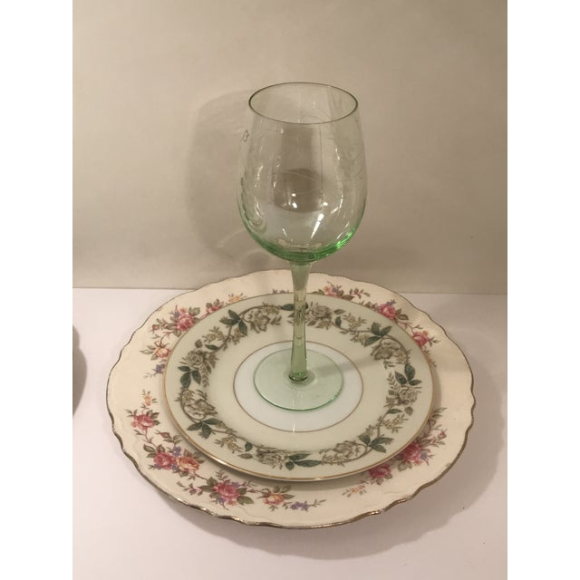 Antique white multi color China table setting and water goblet for two. Perfect for Holiday entertaining. Multiple sets...