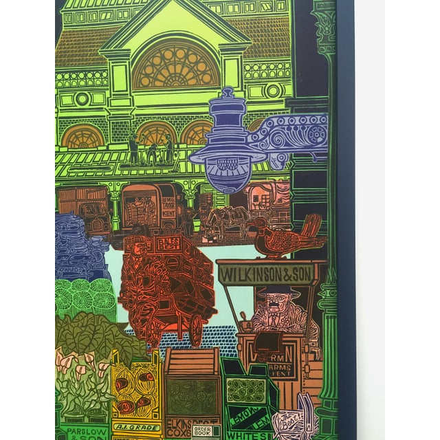 """Rare Vintage 1965 John Griffiths """"Covent Garden: Rhubard and Roses"""" Framed Lithograph Print London Transport Poster For Sale - Image 10 of 13"""