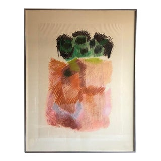 Vintage 1970 Abstract Expressionist Framed Pastel Drawing on Paper, Signed and Dated For Sale