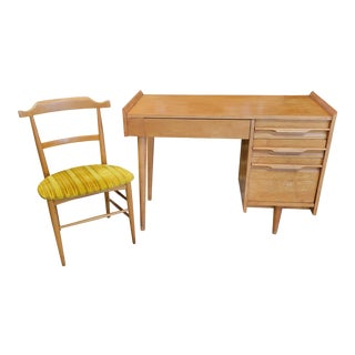 Mid Century Crawford Furniture Desk and Chair For Sale