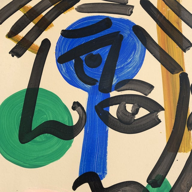 Abstract Original Vintage Peter Robert Keil Abstract Portrait Painting 24 X 35 For Sale - Image 3 of 5
