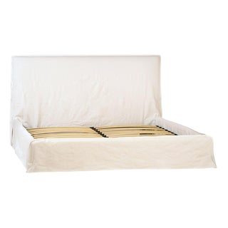 White Fabric Bed Frame Eastern King For Sale