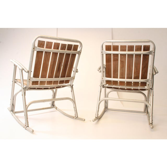 Vintage Redwood & Aluminum Folding Rocking Chairs - A Pair For Sale - Image 6 of 11