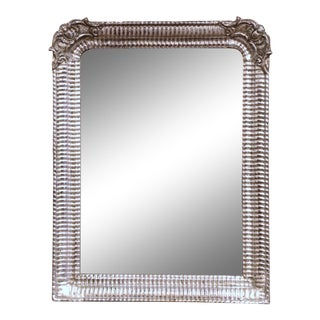 19th Century Louis Philippe Carved Silver Leaf Mirror With Stripe & Floral Decor For Sale