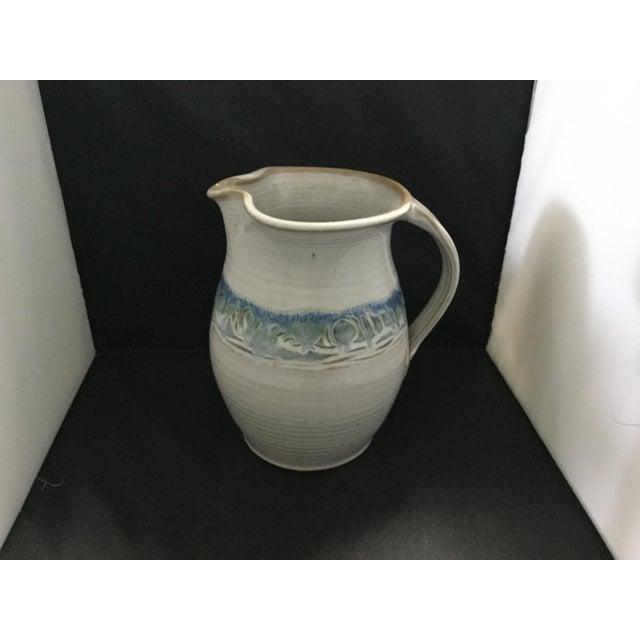 Contemporary Ceramic White and Blue Potter J. Preston Pitcher For Sale - Image 3 of 7