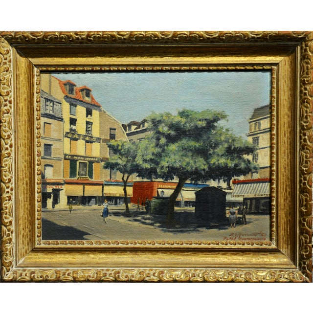 S.G. Garrett -Place de la Contrescarpe ,Paris 1963 - Oil painting Oil painting on board -Signed,titled and dated frame...