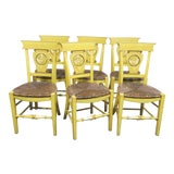 Image of French Country Carved & Painted Rush Seat Chairs - Set of 6 For Sale