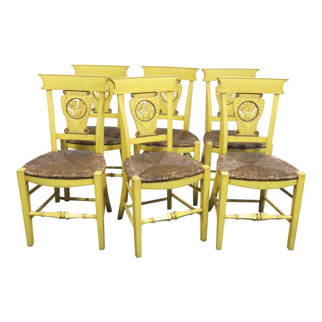 French Country Carved & Painted Rush Seat Chairs - Set of 6 For Sale