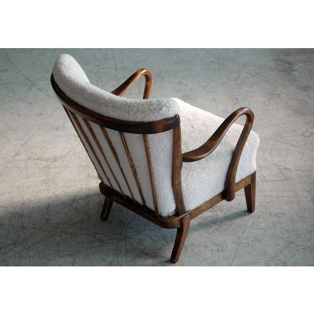 1940s Slagelse Mobelvaerk Model 117 Lounge Chair in Lambswool Danish Midcentury For Sale - Image 5 of 9