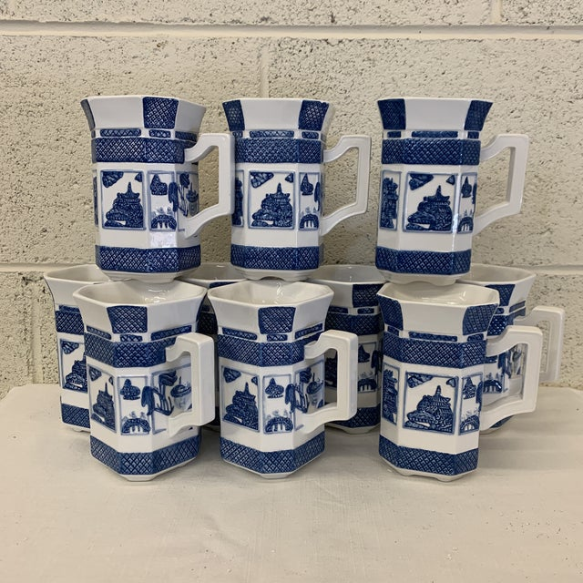 Blue & White Chinoiserie Coffee Mugs - a Set 10 For Sale - Image 13 of 13