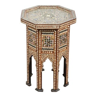 20th Century Syrian Octagonal Table Inlay With Mother-Of-Pearl For Sale