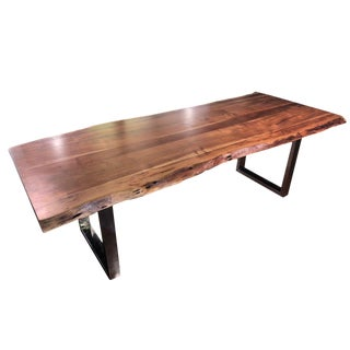 "Contemporary 95"" Handcrafted Acacia Wood Live Edge Dining Table"