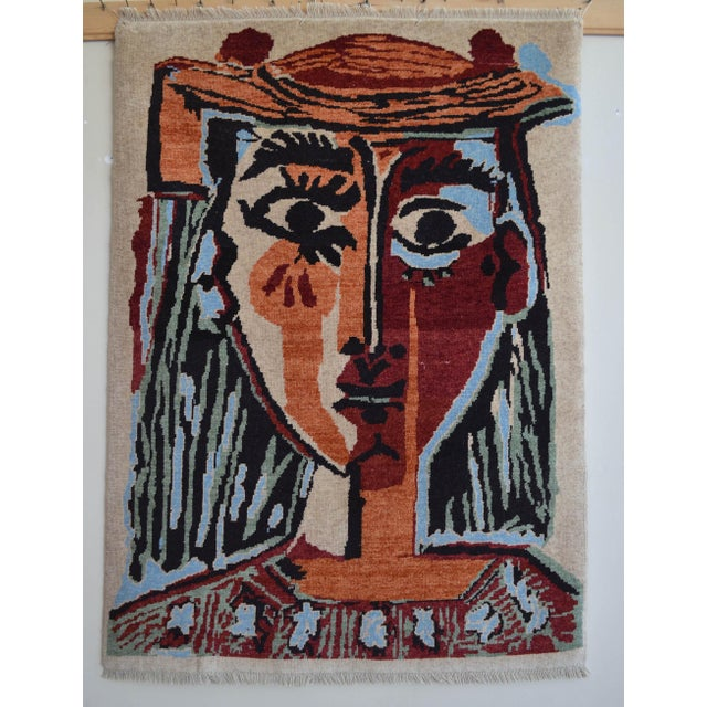 Pablo Picasso - Bust of a Woman - Inspired Hand Knotted Area Rug - Wall Rug 4′ × 5′5″ For Sale - Image 10 of 10