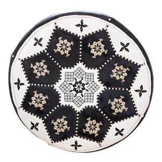 Black & White Moroccan Leather Pouf