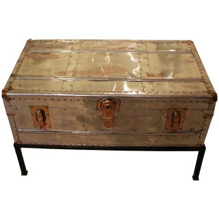 C. 1930s Polished Aluminum Trunk For Sale